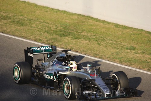 Lewis Hamilton in his Mercedes during Formula One Winter Testing 2016