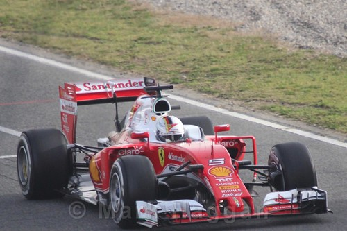 Sebastian Vettel in his Ferrari in Formula One Winter Testing 2016