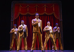 """The Temptations in """"Motown The Musical"""" presented by Broadway Sacramento at the Sacramento Community Center Theater May 18 – 29, 2016. Photo by Joan Marcus."""