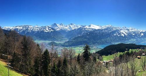 #Eiger #Mönch & #Jungfrau  #EigerMönchJungfrau @ #Amisbühl #Beatenberg #Interlaken #Alpen #Panorama #Schweiz  #swiss #alps #bluesky #traveloup