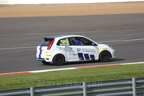 Myles Baker in the BRSCC Fiesta Championship at Silverstone, April 2016
