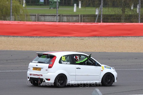Aaron Thompson in the BRSCC Fiesta championship at Silverstone, April 2016