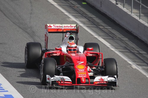 Kimi Raikkonen in his Ferrari during Formula One Winter Testing 2016