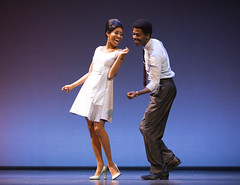 """Allison Semmes (Diana Ross) and Julius Thomas III (Berry Gordy) in the Broadway Sacramento presentation of """"Motown The Musical"""" at the Sacramento Community Center Theater May 18 – 29, 2016. Photo by Joan Marcus."""