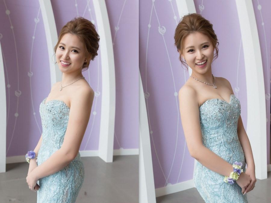 新秘Yuki│新秘推薦│藍色禮服│盤髮│All-Back│新娘髮型