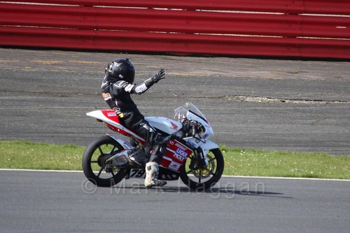 Storm Stacey celebrates a win at BSB Weekend at Silverstone, April 2016
