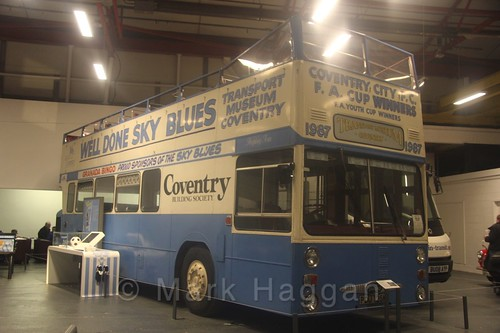 Coventry Football Club's open top bus from their 1987 FA Cup win at Coventry Transport Museum