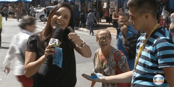 Senhora invade link e grita palavras de ordem contra a Globo
