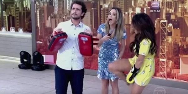 """No """"Encontro"""", Fernanda Souza acerta chute em Ana Furtado"""