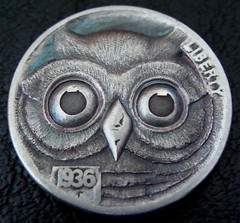 "'Owl' Hobo nickel/coin carving • <a style=""font-size:0.8em;"" href=""http://www.flickr.com/photos/72528309@N05/24561211541/"" target=""_blank"">View on Flickr</a>"