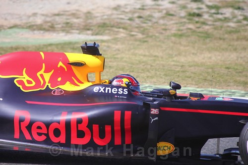 Daniil Kvyat in the Red Bull in Formula One Winter Testing 2016