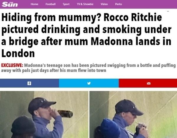 Filho de Madonna é fotografado fumando e bebendo embaixo de ponte