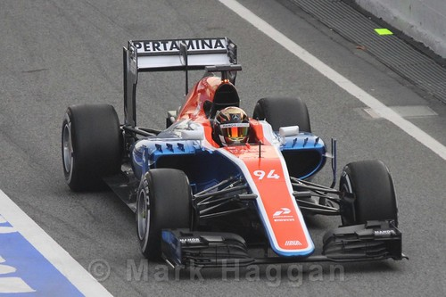 Pascal Wehrlein in his Manor car during Formula One Winter Testing 2016