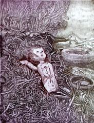 GINA MARZIALE_La discarica, acquaforte a due colori, 1994