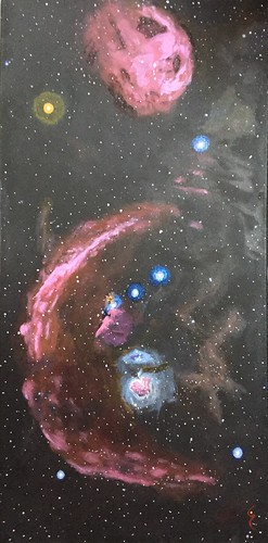 #SpaceArtSunday #5 the Orion Constellation with Barnard's Loop, the Angelfish, Horsehead and Flame nebulae, and of course the Orion Nedula, an active star forming region 1344 ly away. Acrylic on canvas 12x24.