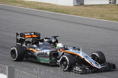Alfonso Celis in the Force India in Formula One Winter Testing 2016