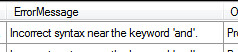 TSQL Incorrect syntax near the keyword