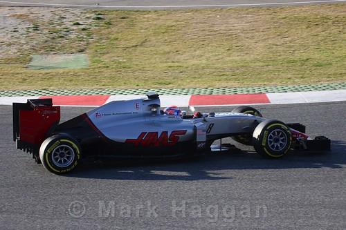 Romain Grosjean in the Haas in Formula One Winter Testing 2016