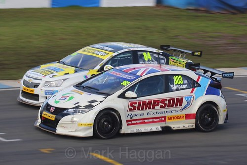 Matt Simpson and Kelvin Fletcher during the BTCC Weekend at Donington Park, April 2016