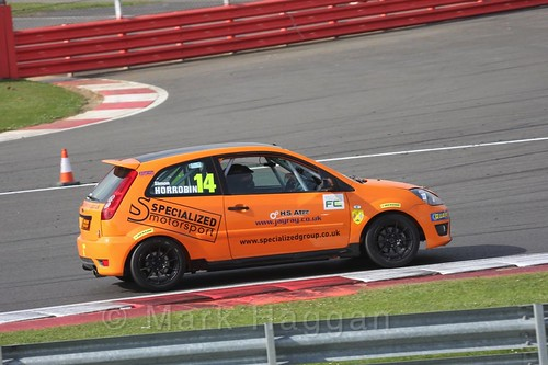 Simon Horrobin in the BRSCC Fiesta Championship at Silverstone, April 2016
