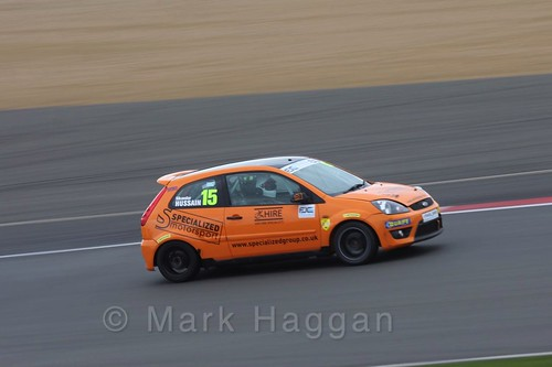 Sikandar Hussain in the BRSCC Fiesta Junior Championship at Silverstone, April 2016