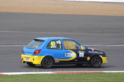 Kieran White in the BRSCC Fiesta Championship at Silverstone, April 2016