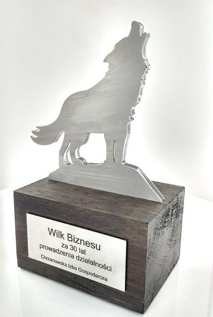 Statuetka Wilk Biznesu stal szczotkowana