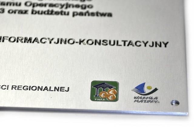 Unijna tablica pamiątkowa aluminium i emalia
