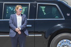 "A Secret Service agent stands guard as U.S. President Donald Trump settles into his presidential limo, known as ""The Beast"". President Donald Trump arrives at McCarran International Airport onboard Air Force One for Nevada Republican Party Convention on J"