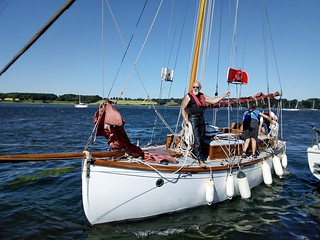 Nancy Blackett coming alongside the RHYC. Photo: John Smith.
