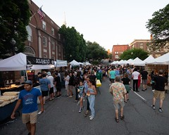 2018-6-30 Crowds gather along Washington St. to enjoy the WaterFire Arts Festival Plaza vendors during a full lighting on June 30th (Photograph by Kevin Murray)