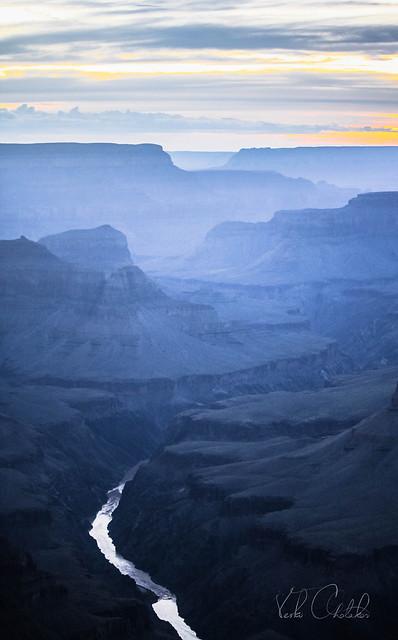 Colorado river silver lining the Grand Canyon