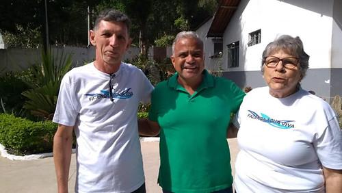 O coordeandor Mário José Carvalho, o prefeito Nardiello Rocha e a presidente Conceição Vasconcelos