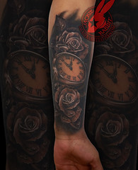 Realistic 3D Real Rose Roses Pocket Watch Pretty Beautiful Black and Grey Tattoo by Jackie Rabbit