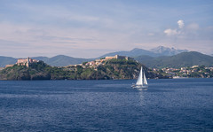 Leaving Island Of Elba, view on the castle of Portoferraio