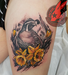 Northern Quail Watercolor Daffodill Flower Color Black Tattoo by Jackie Rabbit