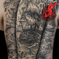 Pirate Ship pirates Black Pearl Galleon Sea Ocean Storm Sky Lightening Realistic 3D Waves Sleeve Tattoo by Jackie Rabbit