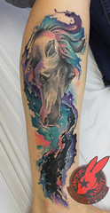 Watercolor Horse Galaxy White Pretty Colorful Space Water Tattoo by Jackie Rabbit