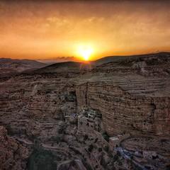Monastery of St. George at Wadi Qelt at sunset