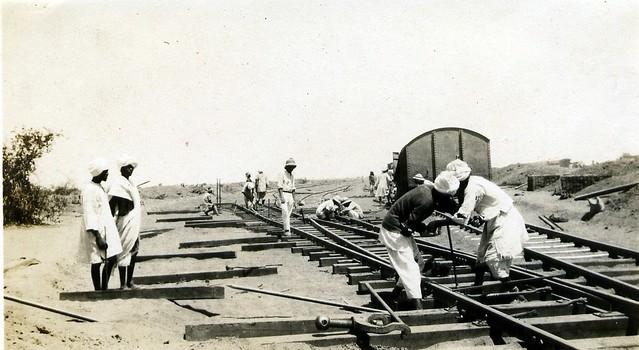 Constructing the locomotive yard at Kassala, Sudan