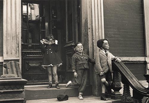 Children on Stoop Wearing Masks by Helen Levitt (1939) - Sharla Sava