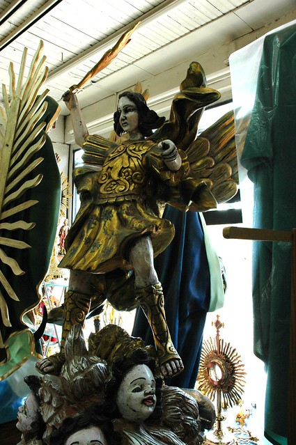 Dynamic Saint Michael Gilt Statue With His Flaming Sword