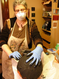 Margaret Grouting a Bowling Ball