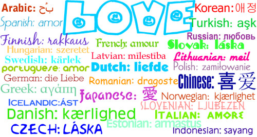 LOVE in 28 different languages