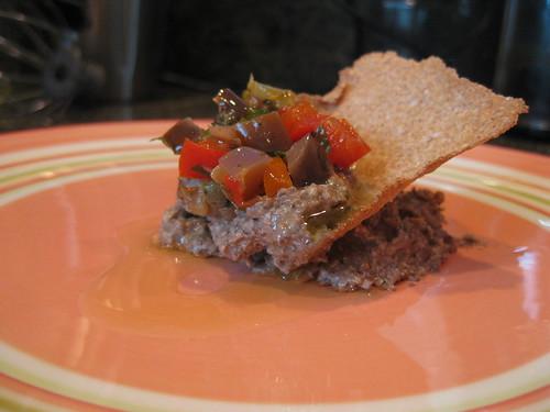 Lentil, Walnut and Mushroom Pate with Pepperonata and Farro Cracker