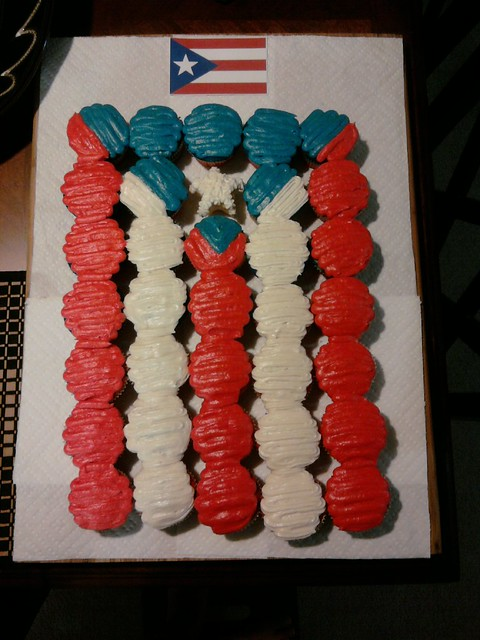 Puerto Rican Flag made of cupcakes
