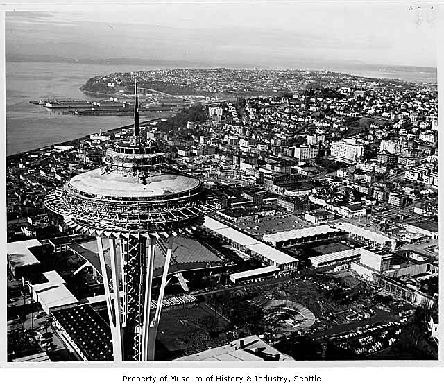 Aerial of Space Needle and fairgrounds during construction from southeast, Seattle World's Fair, ca. 1961