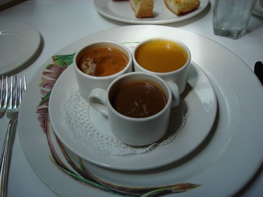 demi cups of turtle, gumbo, and sweet potato soup at Commander's Palace, New Orleans LA