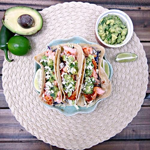 Salmon Tacos wAvocado  Salsa