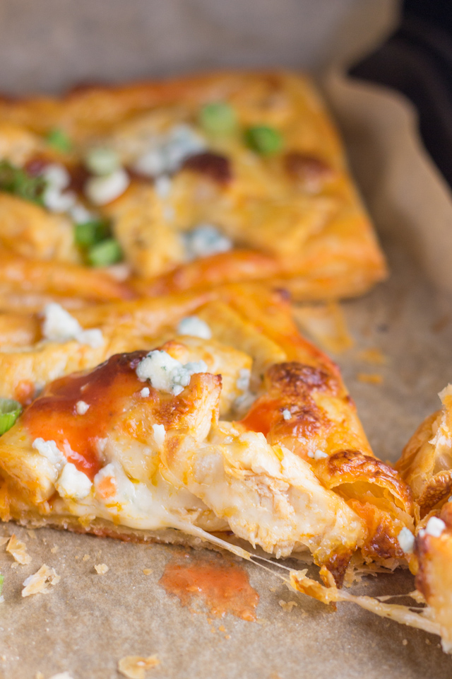 Buffalo Chicken Puff Pastry Squares | in this kitchen